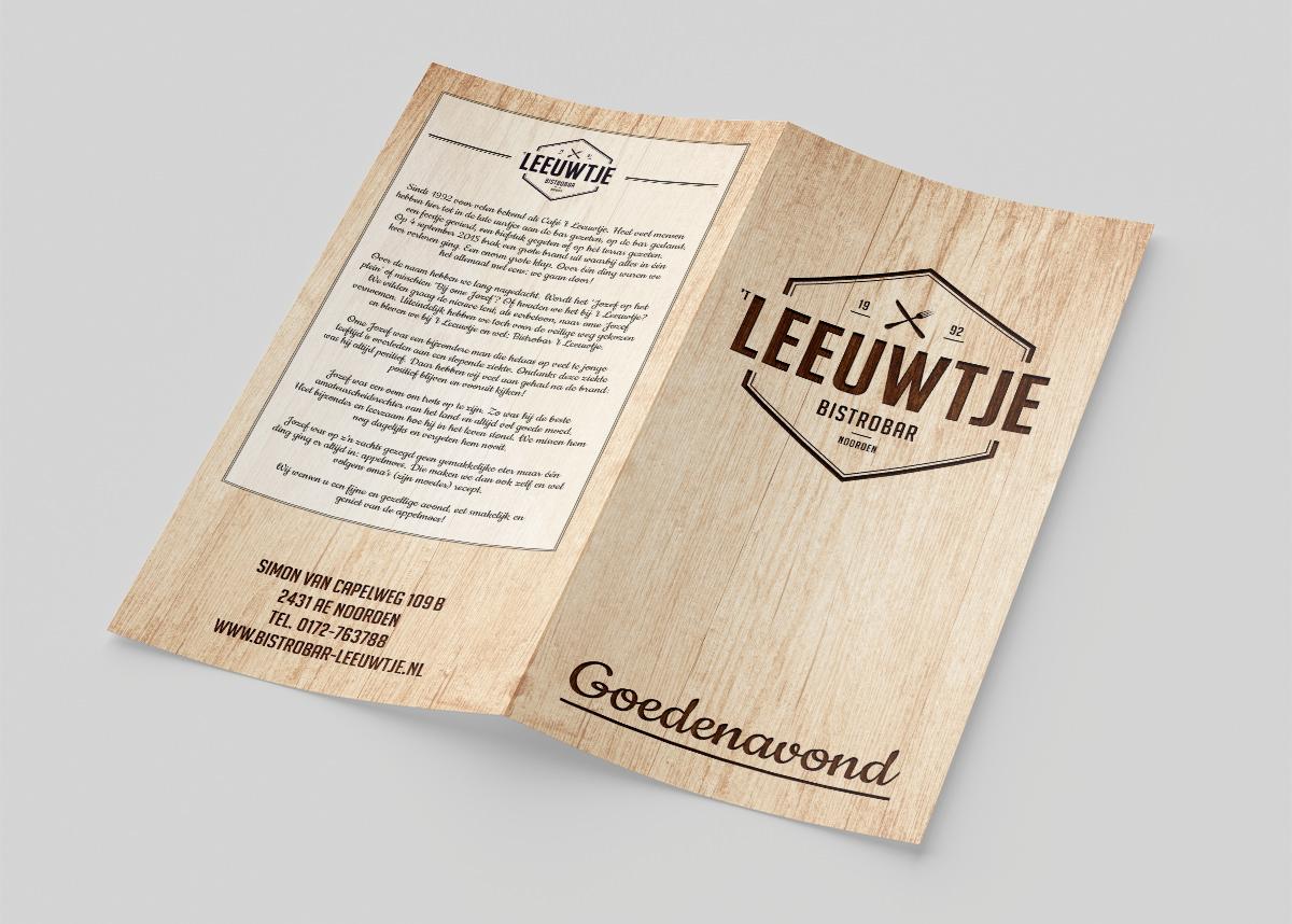 Leeuwtje Bistrobar Noorden menukaart Studio Kaboem