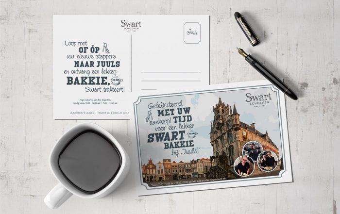 Lunchcafé Juuls, Gouda, Swart Schoenen, Studio Kaboem!, ansichtkaart